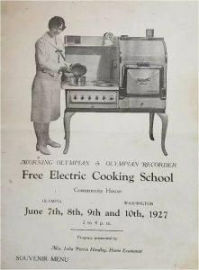 Cooking School menu 1927