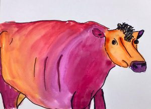 Hummingbird Studio watercolor cow