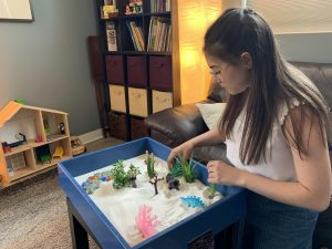Olympia Therapy Teen using Sandtray Play Therapy to process stress
