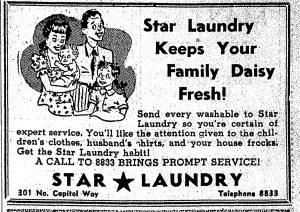 Star Laundry 1940s advertisement