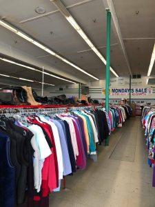 racks of shirts thrift store Aberdeen