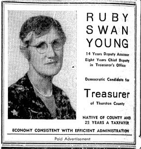Ruby Swan Young treasurer ad
