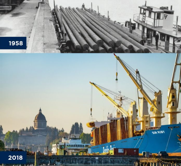 Port of Olympia 100 years Log Loading 1958 vs 2018