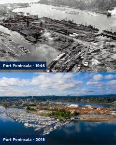 Port of Olympia 100 years Port Peninsula 1946 vs 2018