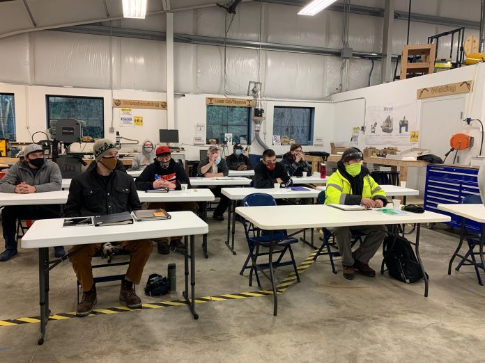 First cohort of Construction Bootcamp in class at the Lacey Makerspace