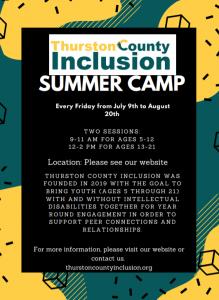 Thurston County Inclusion Summer Camp ages 13-21 @ Rainier Vista Park