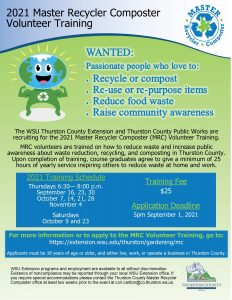 Application Period Open @ Fall 2021 Master Recycler Composter Volunteer Training
