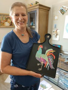Eunice-King-with-Rooster-Paper-Art