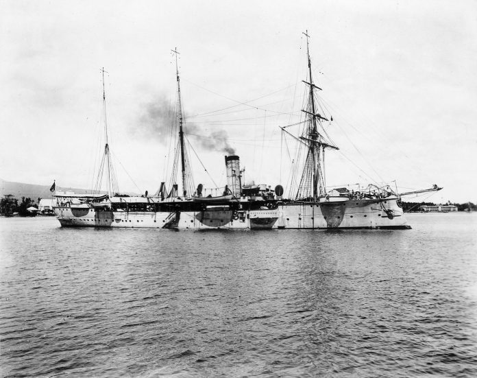 The SMS Falke in Apia, Samoa. Photo credit: National Library of New Zealand